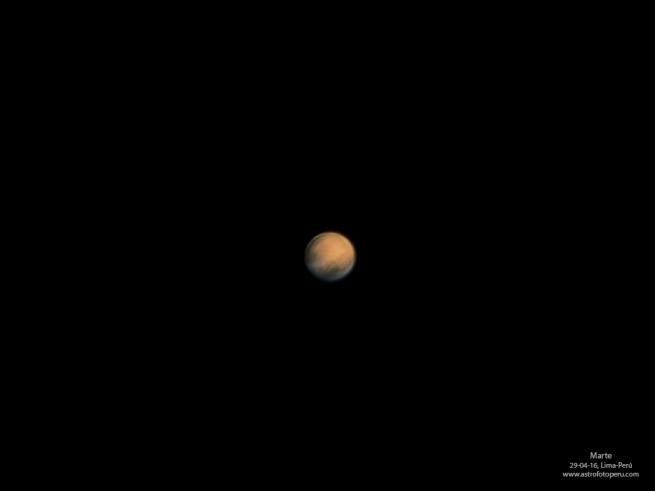 Marte el 29-04-16. En 1 mes exactamente estará 75 millones de km mas cerca a la Tierra desde su ultima oposición en 2014.