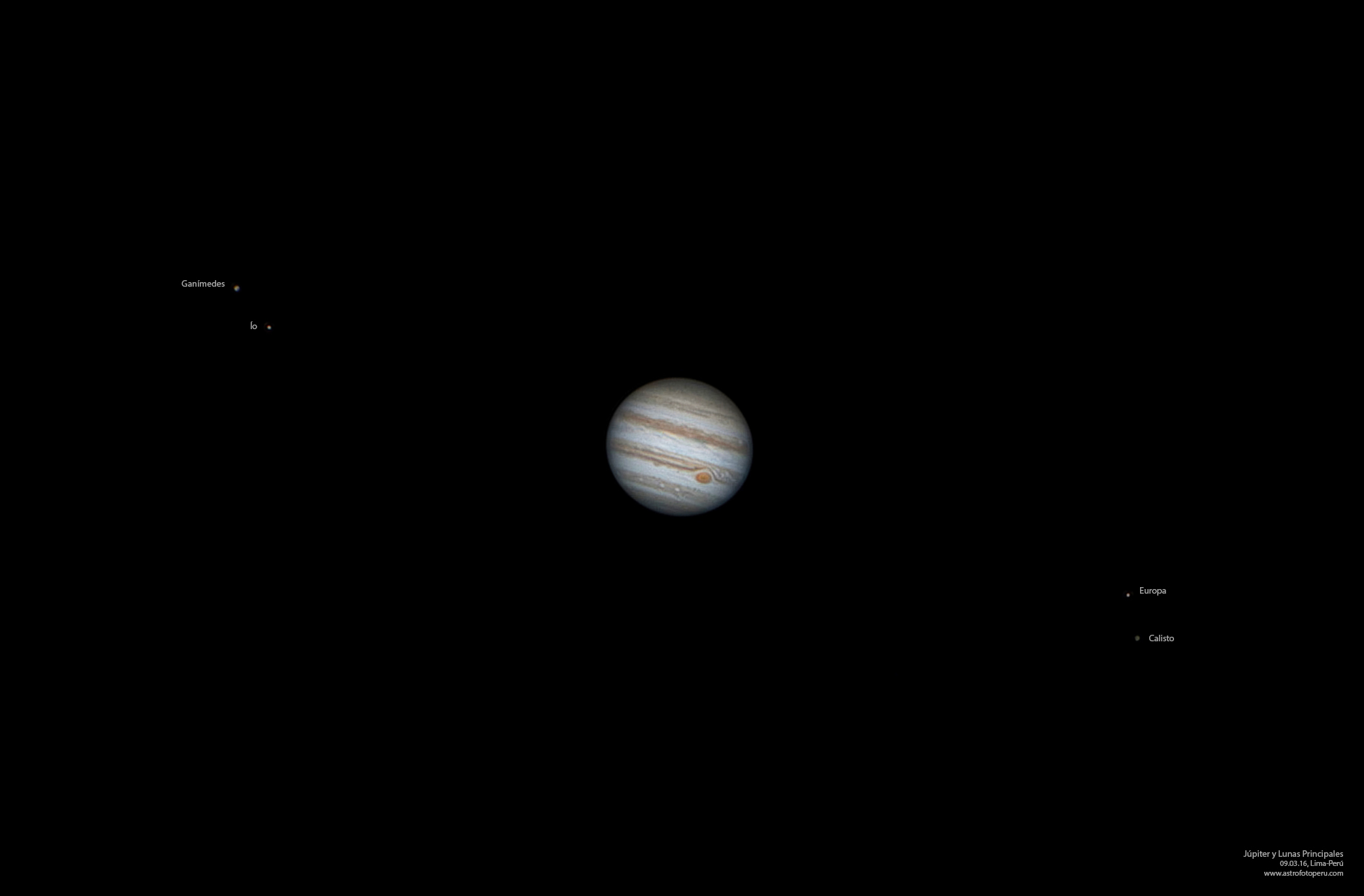 Júpiter en Oposición y Lunas - 09-03-16 - Lima - astrofotoperu - Leyenda
