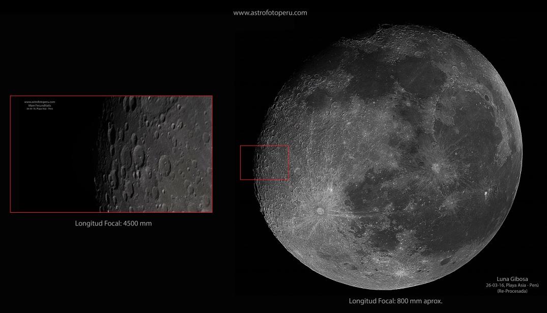 Luna Gibosa - 26.03.16 Asia - Comparación Longitud Focal - astrofotoperu