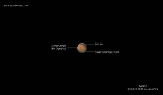Marte desde Lima-Perú, 2:10 am, mostrando algunos detalles geográficos.