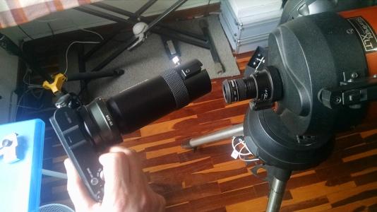 5. Colocando el tele-extender y la cámara sobre el ocular.
