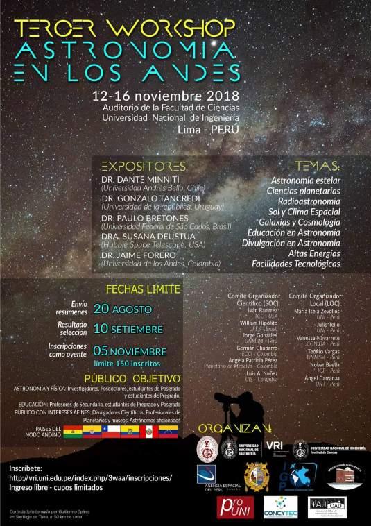 Tercer WorkShop de Astronomía en los Andres - Unión Astronómica Internacional y Universidad Nacional de Ingeniería