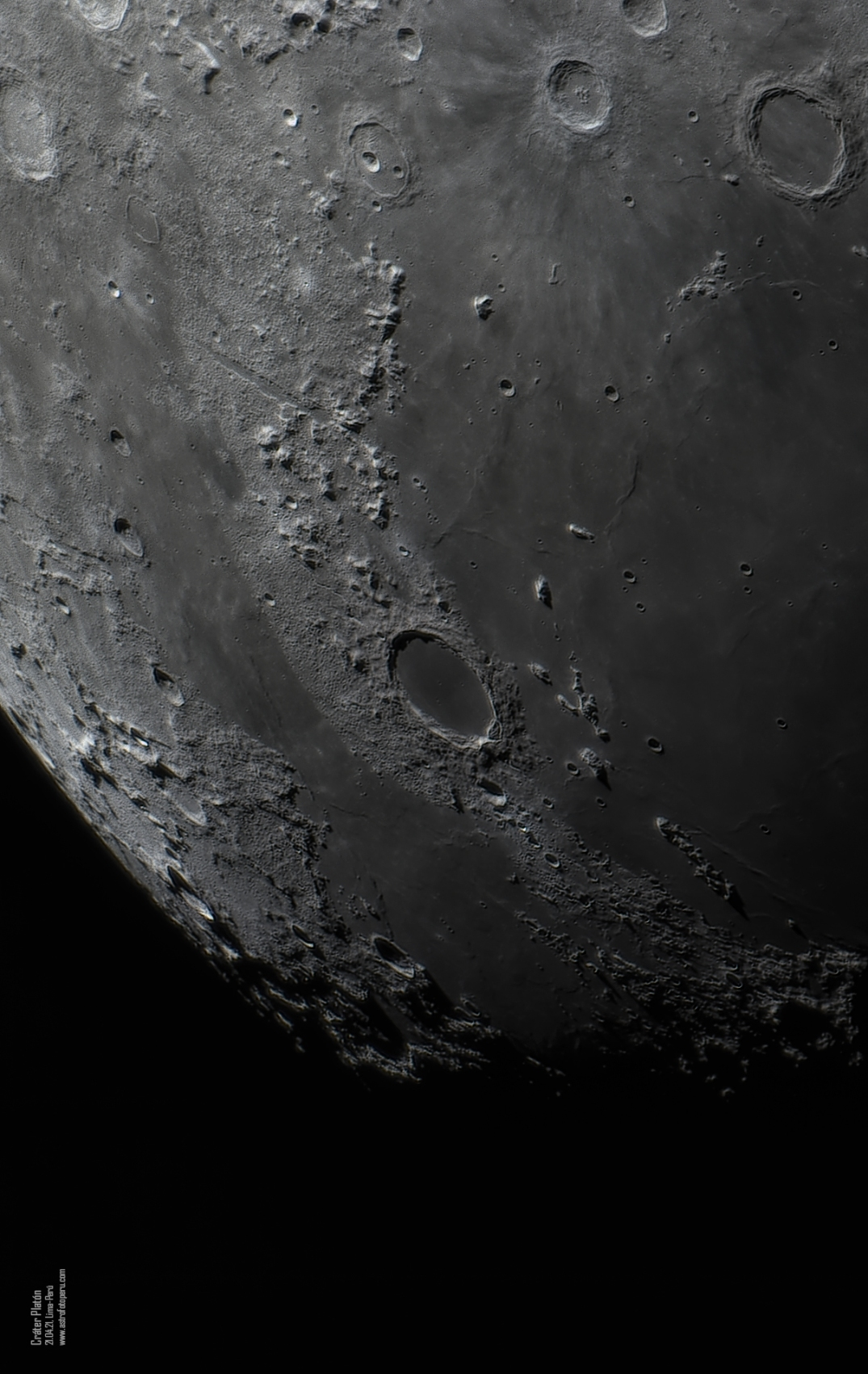 Crater Platon - 21.04.21 - astrofotoperu - 174MC - 5080 mm